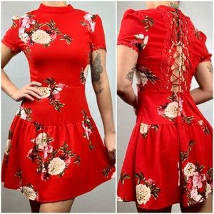 Entro high neck, back lace up floral dress sz S
